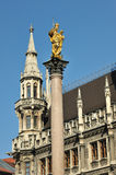 St. Mary column in Marienplatz in Munich Royalty Free Stock Image