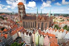 St. Mary Kathedraal in oude stad van Gdansk Stock Afbeeldingen