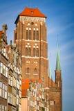St. Mary Kerk in oude stad van Gdansk Stock Fotografie