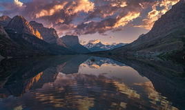 St Mary Lake at dusk Panorama Stock Photos
