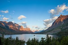 St. Mary Lake and wild goose island in Glacier national park in Royalty Free Stock Photography