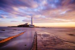 St Mary latarnia morska - Whitley zatoka Zdjęcia Royalty Free