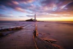 St Mary latarnia morska - Whitley zatoka Obraz Royalty Free