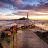 St Mary latarnia morska - Whitley zatoka Zdjęcie Royalty Free