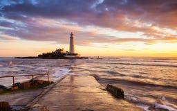 St Mary Leuchtturm - Whitley Bay Stockbilder
