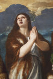St. Mary Magdalene. Tiziano Vecellio: St. Mary Magdalene, exhibited at the Great Masters Renaissance in Croatia, opened December 12, 2011. in Zagreb, Croatia royalty free stock image