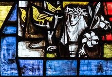 St. Mary Redcliffe Stained Glass Close herauf B lizenzfreie stockfotos