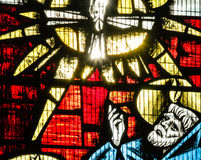 St Mary Redcliffe Stained Glass Close op E stock afbeeldingen