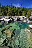 St. Mary River, Glacier National Park, Montana. The bluer the water, the colder and deeper it is Royalty Free Stock Photography