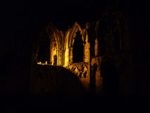 St. Mary's Abbey ruins at night Stock Photos