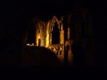St. Mary's Abbey ruins at night. Night scene showing illuminated ruins of St Mary's Abbey, York Stock Photos