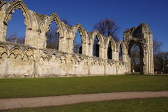 St Mary's Abbey, York. Front view of the ruins of St Mary's Abbey, York Stock Image