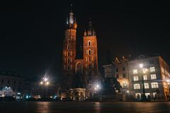 St. Mary`s Basilica, Kraków stock photography