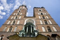 St Mary's Basilica Krakow. A picture looking up at St Mary's Basilica in Krakow, Poland Royalty Free Stock Image