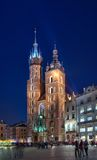 St. Mary's Basilica Krakow by night Stock Photos