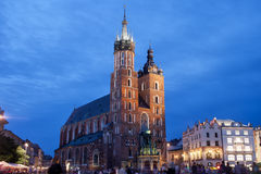 St Mary's Basilica in Krakow at Night Royalty Free Stock Images