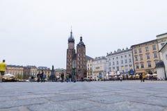 The St. Mary`s Basilica and Rynek Główny square royalty free stock photos