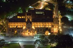St. Mary's Cathedral. In Sydney, night scene, car light trails, photo taken from Sydney Tower Royalty Free Stock Photos