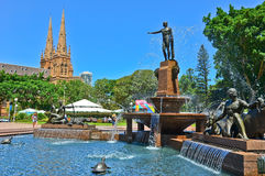 St Mary's Cathedral and Hyde Park in Sydney Stock Photos