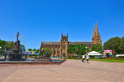 St Mary's Cathedral and Hyde Park in Sydney Stock Photo