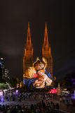 St Mary`s Cathedral ligh up. SYDNEY, AUSTRALIA - May 15, 2017 : St Mary`s Cathedral light up with projected art work as part of the Christmas Sydney Festival Stock Photos