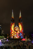 St Mary`s Cathedral ligh up. SYDNEY, AUSTRALIA - May 15, 2017 : St Mary`s Cathedral light up with projected art work as part of the Christmas Sydney Festival Stock Image