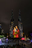 St Mary`s Cathedral ligh up. SYDNEY, AUSTRALIA - May 15, 2017 : St Mary`s Cathedral light up with projected art work as part of the Christmas Sydney Festival Royalty Free Stock Photo