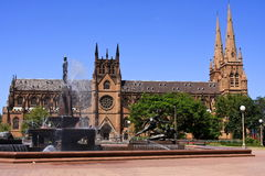 St Mary's Cathedral, Sydney, Australia. St Mary's Cathedral in Sydney, Australi, from Hyde Park Royalty Free Stock Photos