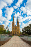 St.Mary`s Cathedral. Sydney, Australia - February 21, 2017: View of St.Mary`s Cathedral church which is the biggest church in Sydney Royalty Free Stock Image
