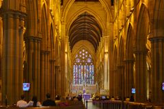 Long exposure inside St Mary`s Cathedral, Sydney, New South Wales, Australia stock photography