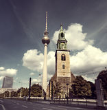 St. Mary's Church and Alexanderplatz TV Tower in Berlin Royalty Free Stock Photos