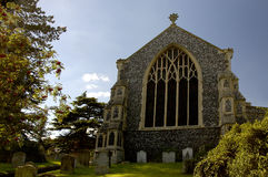 St Mary's Church Diss Norfolk East Anglia England. United Kingdom. Taken in the churchyard during a clear summer's day. The church is over 600 years old and is stock photo