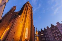 St Mary`s Church in Gdansk at night. Gdansk, Pomerania, Poland Stock Image