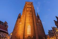 St Mary`s Church in Gdansk at night. Gdansk, Pomerania, Poland Royalty Free Stock Photography