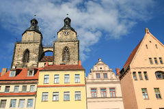 St. Mary`s church and historic buildings in Wittenberg, Germany Royalty Free Stock Photos