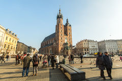 St. Mary's Church in historical center of Krakow on Main Square Royalty Free Stock Images