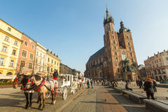 St. Mary's Church in historical center of Krakow on Main Square Royalty Free Stock Photos