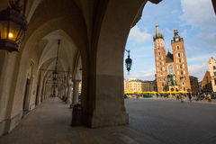 St. Mary's Church in historical center of Krakow. Royalty Free Stock Image