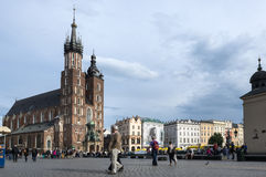 St.Mary's Church in historical center of Krakow. Stock Photo