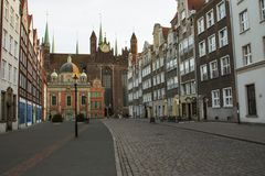 St. Mary`s Church and King`s Chapel in the Old Town in Gdansk. Poland.  Royalty Free Stock Images