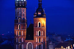 St. Mary's church in Krakow at night Stock Photography