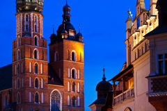 St. Mary's church in Krakow at night Royalty Free Stock Photo