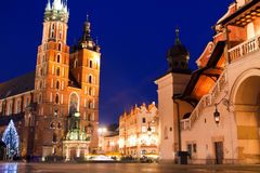 St. Mary's church in Krakow at night Royalty Free Stock Photos