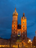 St. Mary's Church in Krakow by night Stock Image