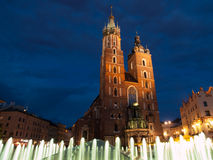 St. Mary's Church in Krakow by night Royalty Free Stock Photo