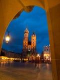 St. Mary's Church in Krakow by night Royalty Free Stock Photos