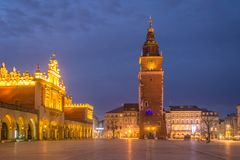 St Mary s Church at Main Market Square in Cracow, Poland. View of St Mary s Church at Main Market Square in Cracow, Poland Royalty Free Stock Photos