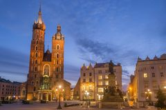 St Mary s Church at Main Market Square in Cracow, Poland. View of St Mary s Church at Main Market Square in Cracow, Poland Royalty Free Stock Photo