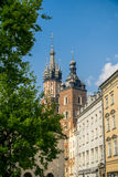 St. Mary`s Church on Main Square of the Old Town of Krakow Stock Image