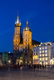 St. Mary`s Church on Main Square of the Old Town of Krakow Royalty Free Stock Photo